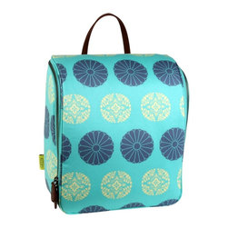 Amy Butler for Kalencom - Amy Butler Sweet Traveler Bag, Pressed Flowers Mint - Our Amy Butler Sweet Traveler Ultimate Toiletry Bag in Pressed Flowers Mint is a clean, modernly refined exterior that opens up to reveal well-placed highly organized pockets to hold your bath and beauty supplies. The top pouches attach with Velcro for easy access, and the stow-away hook helps to keep your grooming elevated. All organic cotton with zipper closure, multiple pockets, leather loop handle, steel hook, and coordinated contrast lining.