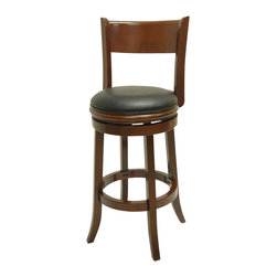 Boraam - Boraam Palmetto 24 Inch Bar Stool in Cherry Finish - Boraam - Bar Stools - 40824 - This beautifully constructed swivel stool is the perfect addition to your home. The attractively designed backrest plus the plush black seat, exuberates sophistication. The compatible design will undoubtedly merge seamlessly with any style kitchen, basement, game room, or bar! Constructed from solid hardwood, made with precision construction, and features a steel ball bearing swivel plate for a flawless three hundred and sixty degree swivel, making the Palmetto stool a durably solid piece of furniture. Performance tested by the leading testing facilities that are recognizable worldwide, purchasing this stool is not only a smart choice but also a wise investment. Additionally, the sleek bonded leather upholstery encases a high-density foam cushion providing the maximum level of comfort for all who sit.