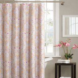 Echo Design - Echo Design Laila 72-Inch x 72-Inch Shower Curtain - A subtle paisley design with a trendy pink and cream palette makes this shower curtain both elegant and stylish. The reactive dye print will remain rich and colorful for years.