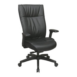 Office Star - Office Star 973 Series Leather Executive Chair with Arms in Black - Office Star - Office chairs - 937055NC17U - Contemporary leather Executive chair with PU padded adjustable arms layered seat and back and nylon base. Pneumatic seat height adjustment 360 degree swivel pivot tilt 2 to 1 synchro tilt tilt tension with tilt lock