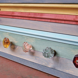 Reclaimed Wood Coat Rack by Rustic Wood Originals - Reclaimed wood and ocean-colored glass knobs make this a great place to hang coats, bags, etc.