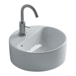 "WS Bath Collections - Normal WS105 Vessel Bathroom Sink 13.8"" - Normal WS105, 13.8"" Dia x  5.1"", Vessel Bathroom Sink in Ceramic White"