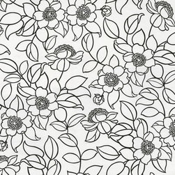 Wallpaper Worldwide - Athena - Stylized Floral Wallpaper, White, Black - Material: Non-woven.