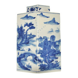 Blue and White Detailed Ginger Jar - Celebrating a tradition of  timesless style, our blue and white porcelain jar features an intricately detailed chinoiserie scene.