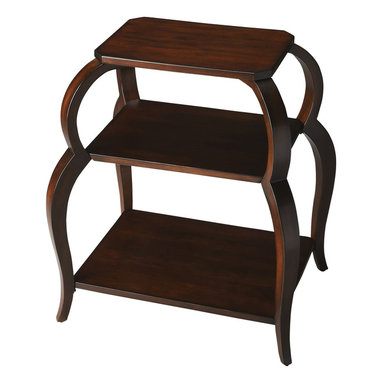 Butler Specialty - Butler Shelby Plantation Cherry Tiered Side Table - This distinctive tiered side table is ideal paired beside a chair or sofa. Crafted from select hardwood solids, wood products and resin components, it features shapely rounded legs supporting its top and two lower shelves - each made with cherry veneer. Boasting a rich Plantation Cherry finish, it provides plenty of space for storing books and magazines or to display cherished photos and collectibles.