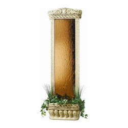 BluWorld of Water - Durable Weathered Wall Fountain - This vertical floor fountain is seventy two inches tall and is suitable for indoor and outdoor use.  The fountain has a quiet submersible pump, garden style accents and an accent light.  The fountain has a bronze back and is made from fiber reinforced polymer. Foliage included. Lightweight and durable. Features an ancient stone frame and Bronze mirror. Low voltage submersible accent light. Basin can be accented with the included silk plants. Quiet submersible pump. Made of FRP (Fiber Reinforced Polymer). Suitable for indoor and outdoor use. 23 in. W x 11 in. D x 72 in. H. Instruction Manual & Warranty