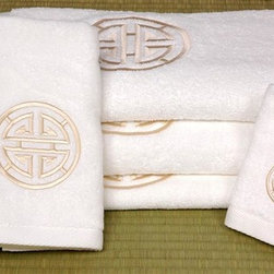 Oriental Unlimted - 7 Pc Bath Set w Shou Long Life Design in Whit - Set includes 2 bath towels, 2 hand towels, 2 washcloths and 1 bath mat. Features an embroidered long life symbol design. Made of extraordinarily plush Turkish grown ring spun cotton. With exceptional fine high density embroidery. White with Ivory embroidery. Bath towels: 52 in. L x 27 in. W. Hand towels: 30 in. L x 16 in. W. Washcloths: 13 in. L x 13 in. W. Bath mat: 33 in. L x 20 in. W