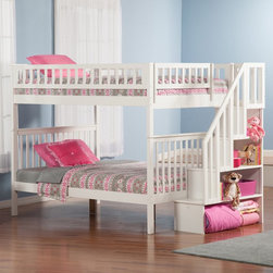 Atlantic Furniture - Woodland Full over Full Staircase Bunk Bed - AB56802 - Shop for Bunk Beds from Hayneedle.com! With the Woodland Full over Full Staircase Bunk Bed everyone gets a big bed. This full over full bunk bed has a classic craftsman style. It's well-crafted of sturdy hardwoods and comes in your choice of available finish options. It comes complete with a 14-piece slat kit and fun storage staircase. The staircase has four open cubbies in graduated size and may be installed at either end of the bunk bed. Customize it by adding on any of the optional underbed storage or trundle bed pieces. All have the same durable hardwood construction and come in matching finish options.About Atlantic FurnitureFounded in 1983 as Watercraft Inc. Atlantic Furniture started as a manufacturer of pine waterbed frames. Since then the Springfield Mass.-based company has expanded to Fontana Calif. The company has moved away from the use of pine and now specializes in imported furniture made of the wood of rubber trees.The Benefits of Eco-Friendly RubberwoodPrized as an environmentally friendly wood rubberwood makes use of trees that have been cut down at the end of their latex-producing life cycle. Originally native to Thailand the trees are removed by hand and replaced with new seedlings. In the past felled rubber trees were either burned on the spot or used as fuel for locomotive engines brick firing or latex curing. Now the wood is used in the manufacture of high-end furniture. It is valued for its dense grain stability attractive color and acceptance of different finishes.Atlantic's Unique Five-Step Finishing ProcessEach product in the entire line is finished with a high-build five-step finishing process. After a thorough sanding a wipe-on sealer is applied followed by a tinted sealer to even the grain and color of the wood. Additional sanding prepares the surface for the first base color coat more sanding and a second base color coat. After a final sanding the finish coat is