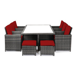 "Reef Rattan - Reef Rattan Amalfi 13 Pc Cube Dining Set - Grey Rattan / Red Cushions - Reef Rattan Amalfi 13 Pc Cube Dining Set - Grey Rattan / Red Cushions. This patio set is made from all-weather resin wicker and produced to fulfill your needs for high quality. The resin wicker in this patio set won't fade, shrink, lose its strength, or snap. UV resistant and water resistant, this patio set is durable and easy to maintain. A rust-free powder-coated aluminum frame provides strength to withstand years of use. Sunbrella fabrics on patio furniture lends you the sophistication of a five star hotel, right in your outdoor living space, featuring industry leading Sunbrella fabrics. Designed to reflect that ultra-chic look, and with superior resistance to the elements in a variety of climates, the series stands for comfort, class, and constancy. Recreating the poolside high end feel of an upmarket hotel for outdoor living in a residence or commercial space is easy with this patio furniture. After all, you want a set of patio furniture that's going to look great, and do so for the long-term. The canvas-like fabrics which are designed by Sunbrella utilize the latest synthetic fiber technology are engineered to resist stains and UV fading. This is patio furniture that is made to endure, along with the classic look they represent. When you're creating a comfortable and stylish outdoor room, you're looking for the best quality at a price that makes sense. Resin wicker looks like natural wicker but is made of synthetic polyethylene fiber. Resin wicker is durable & easy to maintain and resistant against the elements. UV Resistant Wicker. Welded aluminum frame is nearly in-destructible and rust free. Stain resistant sunbrella cushions are double-stitched for strength and are fully machine washable. Removable covers made with commercial grade zippers. Tables include tempered glass top. 5 year warranty on this product. Table: W 77"" x D 49"" x H 30"", Chairs (6): W 25"" x D 23"" x H 38"", Foot Stools with Cushions (4): W 20"" x D 20"" x H 15"""