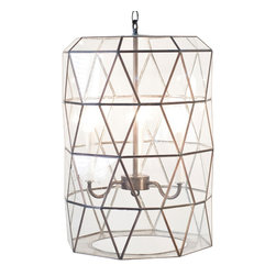 Kathy Kuo Home - Accordion Global Bazaar Glass Clear Cylinder Pendant Lantern - A trio of lights shines through the clear faceted glass, detailed with antique brass trim. Geometric shapes form an hourglass pillar, hanging from a coordinating, adjustable-length chain. Shine some light on your stylish surroundings with this brilliant glass sculpture.