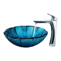 Vigo Industries - Mediterranean Seashell Vessel Sink with 11.63 in. Faucet - Includes all mounting hardware, hot or cold waterlines.