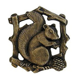 """Notting Hill - Notting Hill Grey Squirrel (Left side/faces right) Knob - Antique Brass - Notting Hill Decorative Hardware creates distinctive, high-end decorative cabinet hardware. Our cabinet knobs and handles are hand-cast of solid fine pewter and bronze with a variety of finishes. Notting Hill's decorative kitchen hardware features classic designs with exceptional detail and craftsmanship. Our collections offer decorative knobs, pulls, bin pulls, hinge plates, cabinet backplates, and appliance pulls. Dimensions:  1-1/2"""" w x 1-5/8"""" h"""