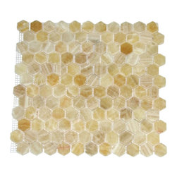 """Marbleville - Honey Onyx 1"""" Hexagon Polished Finish Mesh-Mounted Marble Mosaic  in 12"""" x 12"""" S - Premium Grade Honey Onyx 1"""" Hexagon Polished Mesh-Mounted Marble Mosaic is a splendid Tile to add to your decor. Its aesthetically pleasing look can add great value to the any ambience. This Mosaic Tile is constructed from durable, selected natural stone Marble material. The tile is manufactured to a high standard, each tile is hand selected to ensure quality. It is perfect for any interior/exterior projects such as kitchen backsplash, bathroom flooring, shower surround, countertop, dining room, entryway, corridor, balcony, spa, pool, fountain, etc."""