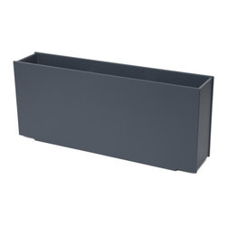 Loll Designs - Mondo Skinny Planter 24 Gallon, Charcoal Grey - The Skinny is the newest addition to our Flora Series. Built with the same height and length as our Mondo Triple, the Skinny is half the width making it perfect for smaller spaces or as a divider. Like all our containers, the Skinny is made from 100% recycled HDPE and is made to withstand the test of time and extreme weather. In addition, the joinery on our modern containers allows for a slow, seeping drainage and holes can easily be drilled in the bottom if desired.