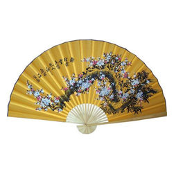 Oriental-Décor - Yellow Blossoms - Perk up a wall in your home with this cheerful, yellow hand-painted fan. Cherry blossoms are scattered across the face, and yellow is considered a very lucky color in Asian culture. Everyone could use some of that.