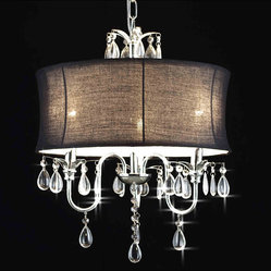 Crystal 3 Light Chandelier with Large Black Shade