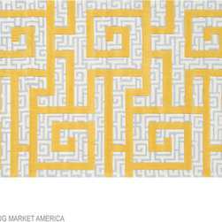 Rome Gold Greek Key Rug - This Greek key pattern exudes a fun, youthful energy in a bright, energetic color. This piece would define the decor scheme in a bright sunroom.