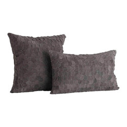 Willa Gray Suede Layered Disc Rectangle Pillow - Bring dark but luxurious substance to your furnishings by adding the dark iron grey color and intriguing texture of the Willa Rectangle Pillow.  The front of this long decorative pillow is densely covered in circles of deep grey suede, overlapping and interlocking for a naturalistic effect of lustrous depth.  Matching dark grey cotton forms the back of the rectangular accent cushion's slipcover.  Pair it with the square version for a concerted transitional style.