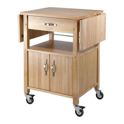 Winsome Wood - Kitchen Cart w Double Drop Leaf - You'll always have the ability to expand your preparation space with the two drop leaves added on to this attractive beech wood kitchen cart. When it's time to stow away, the leaves drop down and the locking casters allow it to be rolled out of the way. Dual drop leafs expand this kitchen cart from compact to spacious. This is a full-service serving cart with wood cutting surface, along with a drawer for utensils, and both an open and an enclosed shelf. This innovatively designed Kitchen Cart with two collapsible counters is crafted of solid Beechwood and rolls smoothly on 4 heavy-duty casters. * Two collapsable counter tops. On casters for easy transport. Features a lower shelf and storage cabinet. Beechwood. Assembly required. 33.25 in. H x 45 in. W x 20 in. D. With Leaves Down: 23.75 in. W x 7.25 in. H. Door Height: 12.75 in.. Interior Storage Cabinet: 13 in. H. Space between Doors and Drawer: 7.25 in. H x 18.25 in. W. Weight: 80 lbs.