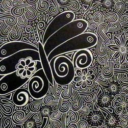 Groovy Gal Designs Online - Black and White Butterfly White Ink Drawing on Black Paper - This one of a kind piece features a groovy butterfly surrounded by a field of funky doodles. Be sure to zoom in to see the intricate details. Done using white ink on black Strathmore paper, it's a beautiful, understated yet eye-catching piece to add to your original art collection!