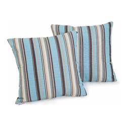 """Best Selling Home Decor - Carnegie Celeste Striped 17"""" Sunbrella Pillow (Set of 2) - Accessorize your home with these colorful Summit Furnishings Home Sunbrella pillows. Upholstered in soft fabric, these colorful chic accent pillows are a great option to add flare and comfort to your home. Use them indoors or to accessorize your outdoor seating set. Includes: Two (2) sunbrella pillows; Material: Fabric; Color: Multi-colored, striped; Spot cleaning; Great accent pillow; Dimensions: 17 inches high x 17 inches wide x 4 inches deep."""