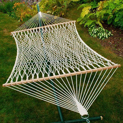 """Algoma Double Cotton Rope Hammock - This Algoma Double Cotton Rope Hammock is LARGE. Plenty sizeable enough for two. The hammock bed measures 60"""" wide x 82"""" long. Overall length of this oversize rope hammock is 13 feet. This 2 person hammock features 1/4"""" natural cotton rope. Hammocks supported by hardwood spreader bars. Hammocks constructed with outdoor plated hardware. Hammock weight is 18 lbs. HAMMOCK ONLY. Fits 15' 2-Point Jumbo Center-Beam Stand (4780), SOLD SEPARATELY (see link below). Maximum weight capacity for this hammock is 350 lbs."""