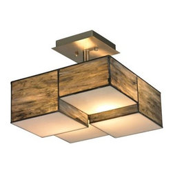 Elk Lighting - Elk Lighting 72071-2 Cubist Semi Flush - Cubes of tiffany glass are assembled into a structure of offsetting staggered cubes, creating an innovative textural expression.  With hardware finished in Brushed Nickel, this series comes with a choice of white or limited edition dusk sky tiffany glass.