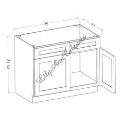 "RTA Hickory Walnut Bath Vanities V3621DR Single Door Right Vanity - Hickory Walnut Bathroom Vanities V3621DR - Single Door Right Vanity Vanity Base: 36""Wx21""Dx34-1/2""H 1 door, 2 drawers right"