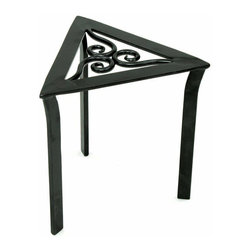 """Achla - Triangular Trivet/Flower Stand - A beautiful and compact decorative stand with unique trivet design, this triangular stand will fit in the smallest of corners, and is perfect for displaying ornamental plants in your patio or porch.  The Trivet Stand is made from wrought iron, with an attractive black graphite powder coat finish.  A very unique and enticing design, this triangular plant stand combines exceptionally forged flat bar to complete this unusual yet incredible shape, then inserts three inner curls for a Celtic inspired center strength. * Wrought Iron. Graphite powdercoat finish. Dimensions: 12"""" H x 12"""" W x 12"""" D"""