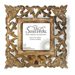 """Everybody's Ayurveda - Hand Carved Trefoil Design Frame - Trefoil Design Hand Carved Frame. 4"""" x 4"""" Opening. Mango Wood and MDF. Package Includes: Design Frame Only. Dimensions: Width: 9 inch. Height: 9 inch."""