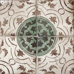"""The La Terre Collection Terra Cottal Tie - Another great pattern on hand made terra cotta tiles just screams """"patina""""! We can't get enough of this type of tile which just adds such a sense of depth to a design, be it as a floor tile in a foyer, a bathroom floor tile, perhaps a frame in a kitchen backsplash-so many possibilities."""