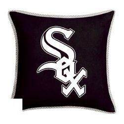 Sports Coverage - MLB Chicago White Sox MVP Micro Suede Toss Pillow - Make that new officially licensed Chicago White Sox MLB Toss Pillow look as good as it feels. A must have for any true fan. A New Design - Same great quality!! Coordinating Chicago White Sox 18 inch Toss Pillow is best compliment for your Comforter. Each Pillow is made from MicroSuede fabric. Pillow features large team logo of Chicago White Sox in the center of the pillow, as well as a strip of mesh trim around it. 100% Polyester Microsuede Cover and Polyester Fill. Trimmed in porthole jersey of teams secondary color. Coordinating MVP Toss pillow to match the entire bedding Collection. Pillow features team colors and the team logo in the center of the pillow .