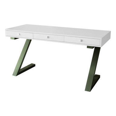"""Moe's Home Collection - Zorro Desk White - Chic MDF desk in matte white with brushed Stainless Steel frame. MDF and black brushed stainless steel base. Dimensions: 59""""W x 24""""D x 30""""H."""