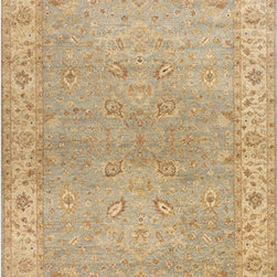 Momeni - Palace Light Blue Rectangular: 5 Ft. 6 In.  x 8 Ft. 6 In. Rug - - Traditional designs blend with modern colors to give the Palace collection its unique appeal. Hand-knotted of 100% wool this collection has an extremely soft hand and a gently tea wash giving it a truly antique feel.  - Pile Height: 0.25 Momeni - PALACPC-02LBL5686