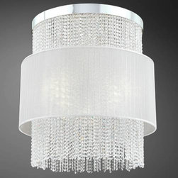 Eurofase - Eurofase 20427-010 Harmoni 12 Light Foyer Pendant in Chrome with White Pleated C - A seemingly gravity-challenged sheer of pleated white or black silk floats effortlessly around a curtain of cascading clear-cut crystal beading. Lit from its chrome base and from behind the midsection's fabric, the Harmoni collection offers exquisite illumination for discriminating tastes.Clear cut crystal Uses 8 GU10 bi-pin bulbs, 50 watts maximum and 4 medium base bulbs, 60W maximum (sold separately) UL listed for safetyBulb Base: 8xGU10 4xE26 Bulb Type: Halogen Incandescent Chain Cord Length: 72 Collection: Harmoni Country of Origin: CN Diameter: 28-1 4 Finish: Chrome Height: 32 Kit: No Number of Lights: 12 Pendant Type: Foyer Shade Finish: White Pleated Chiffon Socket 1 Base: GU10 E26 Socket 1 Max Wattage: 50 Voltage: 120 Wattage: 50