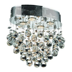 Elegant Lighting - Elegant Lighting 2022F16C Galaxy 4-Light, Single-Tier Flush Mount Crystal Chande - Elegant Lighting 2022F16C Galaxy 4-Light, Single-Tier Flush Mount Crystal Chandelier, Finished in Chrome with Clear CrystalsElegant Lighting 2022F16C Features: