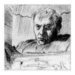 Jack Beal, Self-Portrait, Brooding, Line Etching - Artist:  Jack Beal, American (1931 - 2013)