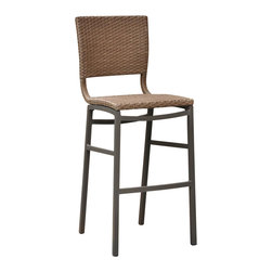 International Caravan - Outdoor Barstool in Honey Finish - Set of 2 - Set of 2. Rust free against rain and harsh weathers. Made from pure aluminum and wicker. Assembly required. 20 in. W x 20 in. D x 45 in. H (12 lbs.)The Barcelona bar height patio chair is must have for any patio or bar.