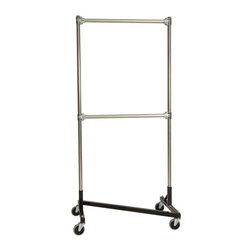 Z Racks - Heavy Duty Z-Rack Garment Rack w 36 in. Doubl - Base Color: Black. 500lb capacity. 14 gauge stee, 36 in. long base (Environmentally safe powder coated finish). 16 gauge, 72 in. upright bars and double hang rails. 1 5/16 outside diameter upright bars and hang rail. Grey non-marking soft rubber with TP center 4 in. casters. Made in the USA. Assembly Required. 36 in. L x 23 in. W x 79 in. HThis three foot double rail Z-Rack, a multi-purpose clothing rack, is able to withstand just as much heavy use as its larger counterparts, but still fits easily into smaller spaces. The uprights still extend to a full six feet, providing a good amount of hanging space��_a solution that�۪s both short and sweet.
