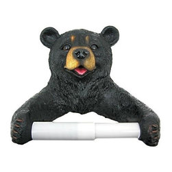 Cute Black Bear Cub Toilet Paper Roll Holder Nature - This incredibly cute black bear cub toilet tissue holder is highly detailed, down to his textured `fur`. Made of cold cast resin, its a perfect bathroom accessory for anyone who loves bears. The roll holder is 8 1/2 inches high, 8 inches wide and 4 3/4 inches deep, and easily holds double rolls. It makes a great gift for any bear lover. It comes with hanger screws and a mounting template.