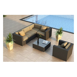 Urbana 5-Piece Modern Patio Sectional Set, Beige Cushions