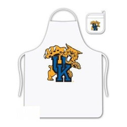 Sports Coverage - Kentucky Wildcats Tailgate Apron and Mitt Set - Set includes your favorite collegiate Kentucky University Wildcats screen printed logo apron and insulated cooking mitt. White apron with white silver backed mitt. Both items are logoed. Tailgate Kit apron and mit is 100% cotton twill with screenprinted logo.