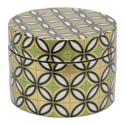 Dinah Ceramic Box - The mesmerizing pattern of this retro inspired ceramic box will make a bold statement in any room. Use it to keep your trinkets tucked away and still easily accessible. We guarantee you'll find excuses to lift the lid and take a peek inside this beauty.