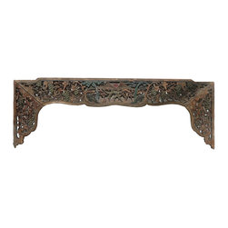 Golden Lotus - Old Chinese Grape Tree Carving Wall Decor Panel Frame - This is an old panel / carving wood art with grape trees couple scenery carving. It can be as a wall accent decoration or reframed as mirror or others.