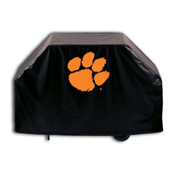 """Holland Bar Stool - Holland Bar Stool GC-Clmson Clemson Grill Cover - GC-Clmson Clemson Grill Cover belongs to College Collection by Holland Bar Stool This Clemson grill cover by HBS is hand-made in the USA; using the finest commercial grade vinyl and utilizing a step-by-step screen print process to give you the most detailed logo possible. UV resistant inks are used to ensure exeptional durablilty to direct sun exposure. This product is Officially Licensed, so you can show your pride while protecting your grill from the elements of nature. Keep your grill protected and support your team with the help of Covers by HBS!"""" Grill Cover (1)"""