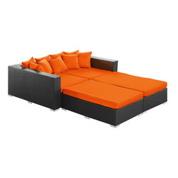 Modway - Palisades Daybed in Espresso Orange - Rejoice in the splendor of a completely formed outdoor bedding environment. View from afar as you silently take in the sights and sounds around you for proper effect. Make your initial movements toward transformation with this splendid flowing piece of absolution and resolve.