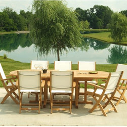 Three Birds - Three Birds Riviera Teak Patio Dining Set - Seats 8 - TB145 - Shop for Tables and Chairs Sets from Hayneedle.com! Additional features:Table measures 72 - 96L x 45W x 29H inchesChairs measure 23W x 26D x 37H inchesSeat height: 18 inches; arm height: 26 inchesTable at 72 inches (not extended) will seat 6 peopleFold and store 2 chairs when table is at 72 inches;add when table is extendedChairs fold for easy storageHand-applied polished finishWeather-resistant stainless steel and aluminum hardwareMortise-and-tenon joinery with locking wood dowelsChairs come fully assembled; table requires minor assemblyEnjoy the tranquility of summer evenings as you dine outdoors with family and friends! With clean lines and streamlined design the Three Birds Riviera Teak Patio Dining Set - Seats 8 makes a great addition to your patio or poolside. Crafted from solid Grade A plantation-grown teak the eight chairs feature top quality Textilene sling seats and backs. Woven from polyester yarn and coated with PVC quick-dry Textilene in choice of black or white is the perfect choice for the poolside being fade- and-mildew-resistant virtually maintenance-free and nearly impossible to tear. What's more with the Textilene sling seat and back offering excellent support you and your guests will be so comfortable that you might be reluctant to get up even after the food is long gone! The chairs fold easily making off-season storage a breeze. Boasting an all-teak construction the oval table sports a slat-top and extends from 72 inches to 96 inches comfortably seating up to eight people. Designed for years of enjoyment this teak patio set will be the highlight of many fun-filled evenings.About TeakTeak wood is universally recognized for its quality durability and beauty. Teak is a very hard densely grained wood with high oil content. The unique combination of these characteristics makes teak naturally resistant to moisture rot warping shrinking splintering insects and fungus. It is considered the ideal wood for outdoor furniture.If left untreated teak weathers naturally to a beautiful silver gray color. The weathering process will change the color but the grain will still be smooth. There will be no splitting or splintering. You may treat each piece of your set with teak oil if you wish to retain the original wood color.About Three Birds CasualCommitted to providing premium casual living products in an environmentally-friendly way Three Birds Casual focuses on producing high quality plantation-grown teakwood furniture for the outdoor living market. Three Birds prides itself in not only delivering premium outdoor products but also choosing partners that reflect the high business standards and ethics that are foundations of success for their business.