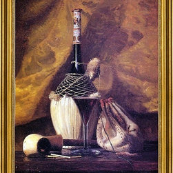 "George Thompson Hobbs-16""x24"" Framed Canvas - 16"" x 24"" George Thompson Hobbs Still Life with Pipe and Bottle framed premium canvas print reproduced to meet museum quality standards. Our museum quality canvas prints are produced using high-precision print technology for a more accurate reproduction printed on high quality canvas with fade-resistant, archival inks. Our progressive business model allows us to offer works of art to you at the best wholesale pricing, significantly less than art gallery prices, affordable to all. This artwork is hand stretched onto wooden stretcher bars, then mounted into our 3"" wide gold finish frame with black panel by one of our expert framers. Our framed canvas print comes with hardware, ready to hang on your wall.  We present a comprehensive collection of exceptional canvas art reproductions by George Thompson Hobbs."