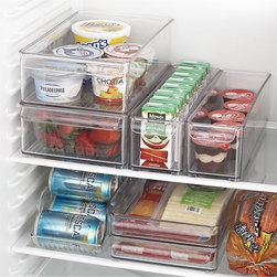 Fridge Bins and Organizer and Tray - When it comes to home organization, one place that tends to get overlooked is the refrigerator. I love the idea of using trays and bins to keep the refrigerator tidy and neat. Plus, if anything opens or spills, these will keep the mess contained.