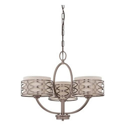 Nuvo Lighting - Nuvo Lighting 60/4724 Harlow Three Light Chandelier - Nuvo Lighting 60/4724 Harlow Three Light Chandelier with Khaki Fabric Shades, in Hazel Bronze FinishThe Harlow collection is offered in gleaming Polished Nickel with Slate Gray fabric shades or richly toned Hazel Bronze with Khaki Linen shades. In either finish, Harlow is the perfect balance of style and glamour.Nuvo Lighting 60/4724 Features: